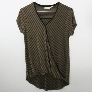 Anthropologie Maeve Olive Green Striped Top